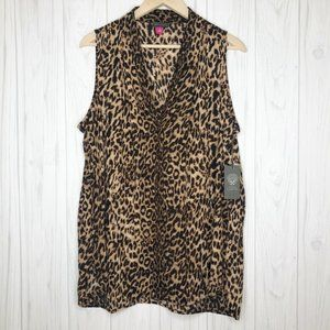 VINCE CAMUTO Leopard Print Sleeveless Blouse